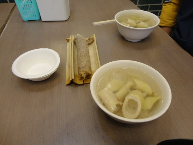 Rice cooked in Bamboo,bamboo and bamboo soup